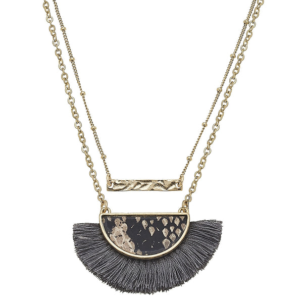 Layered Python-Print Tassel Necklace in Brown