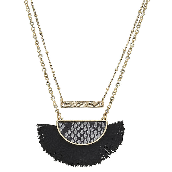 Layered Python-Print Tassel Necklace in Grey