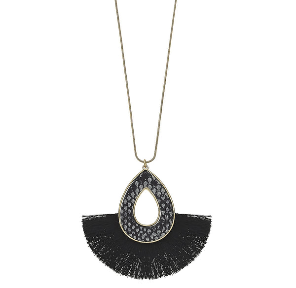 Python-Print Teardrop Tassel Necklace in Grey