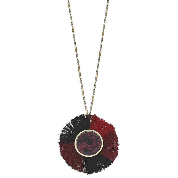 Python-Print Disc Tassel Necklace in Red