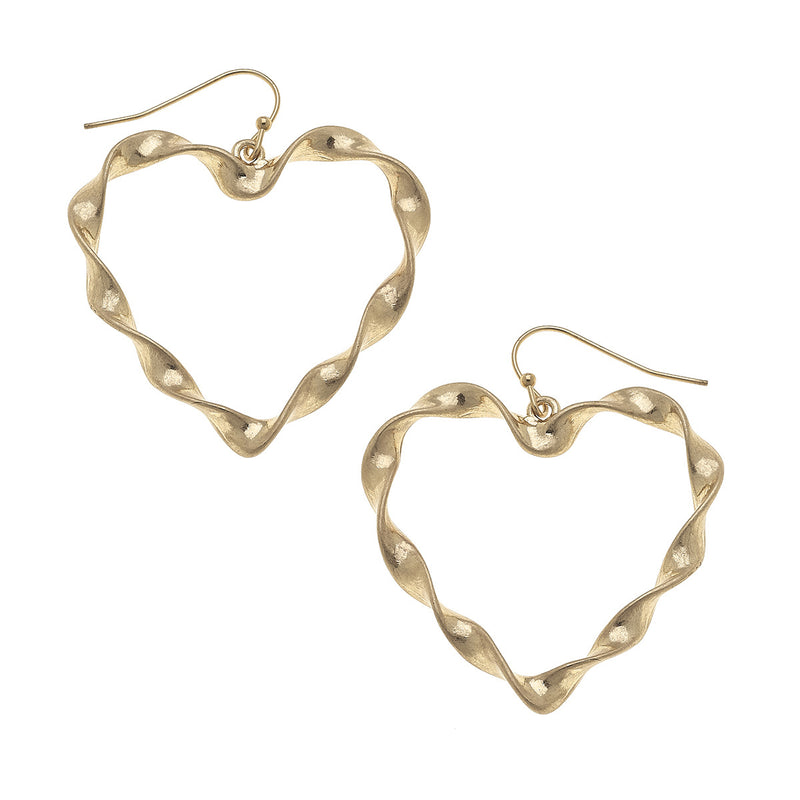 Large Heart Earrings in Worn Gold by Crave