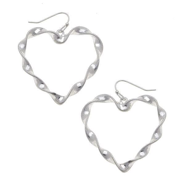 Large Heart Earrings in Worn Silver by Crave