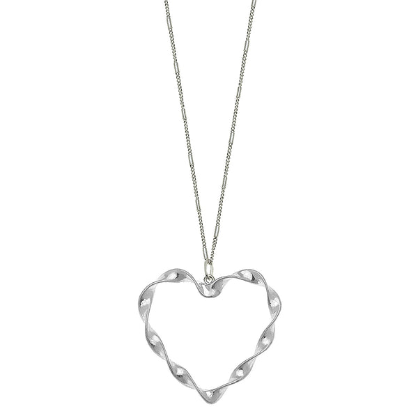 Heart Pendant Necklace in Worn Silver by Crave