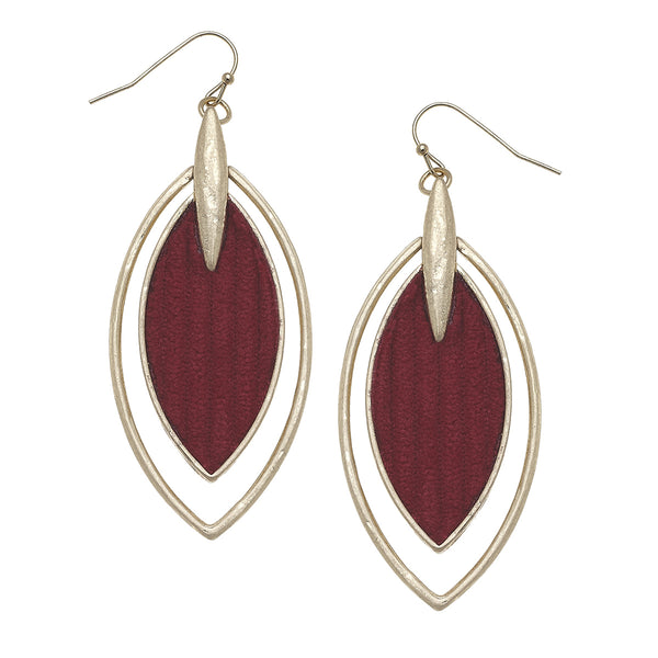 Velvet Marquis Drop Earrings in Burgundy