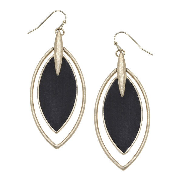 Velvet Marquis Drop Earrings in Black
