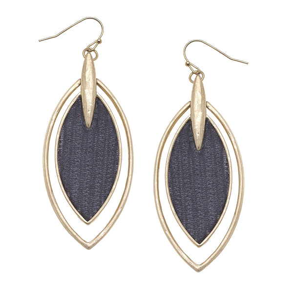 Velvet Marquis Drop Earrings in Grey