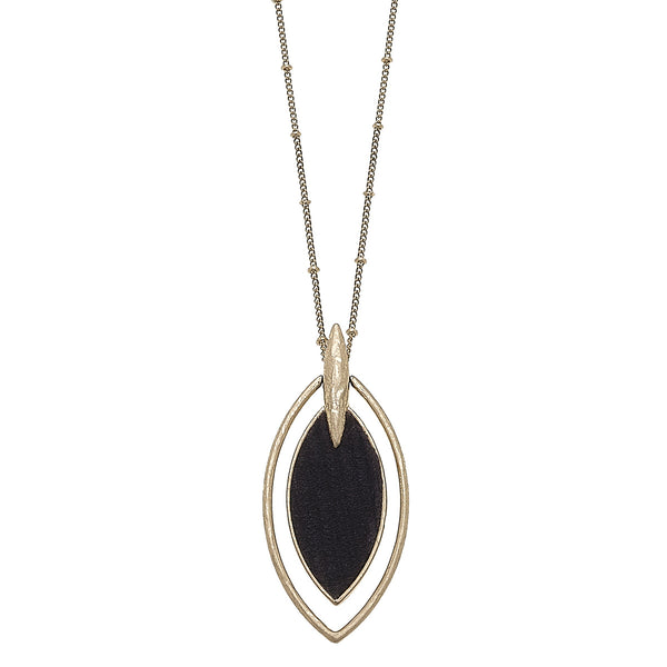Velvet Marquis Pendant Necklace in Black
