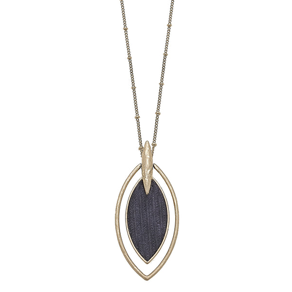 Velvet Marquis Pendant Necklace in Grey