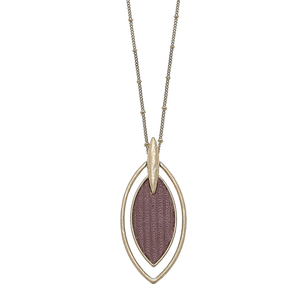 Velvet Marquis Pendant Necklace in Mauve
