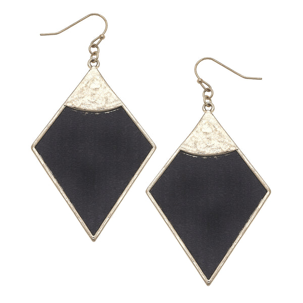 Velvet Diamond Drop Earrings in Black