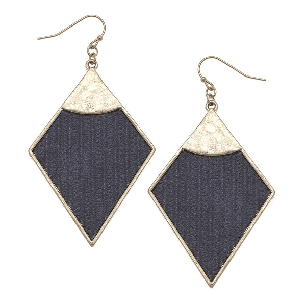 Velvet Diamond Drop Earrings in Grey