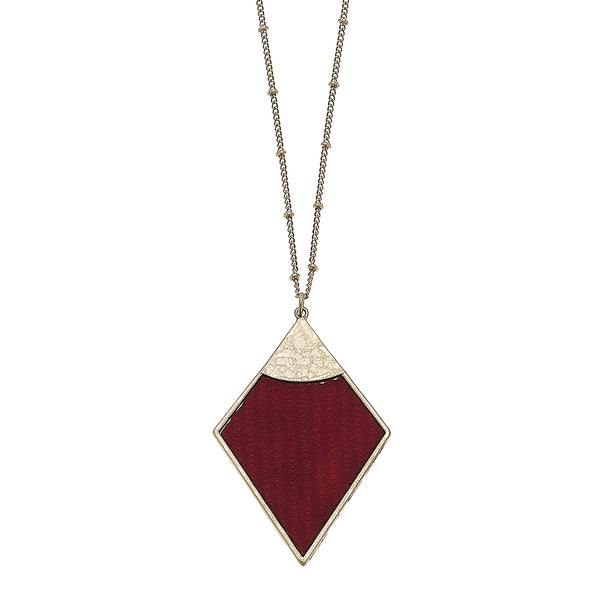 Velvet Diamond Pendant Necklace in Burgundy