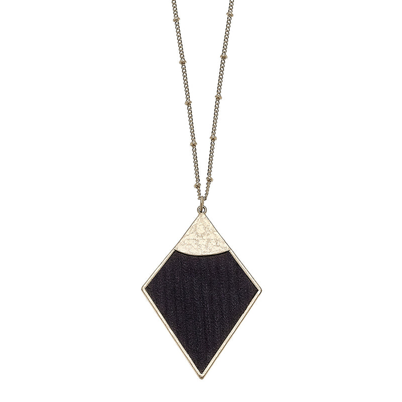 Velvet Diamond Pendant Necklace in Black