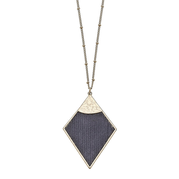 Velvet Diamond Pendant Necklace in Grey