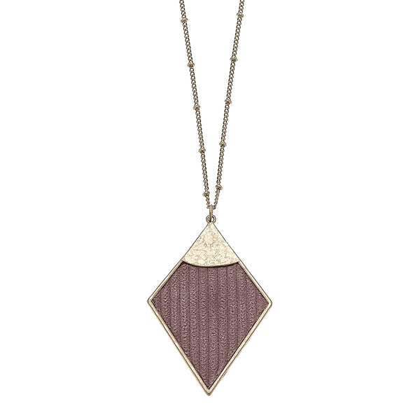 Velvet Diamond Pendant Necklace in Mauve