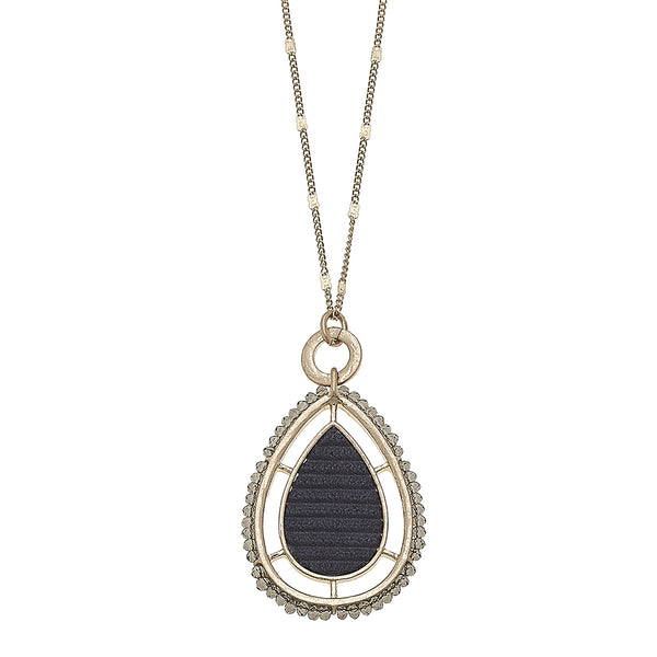 Velvet Beaded Teardrop Pendant Necklace in Grey