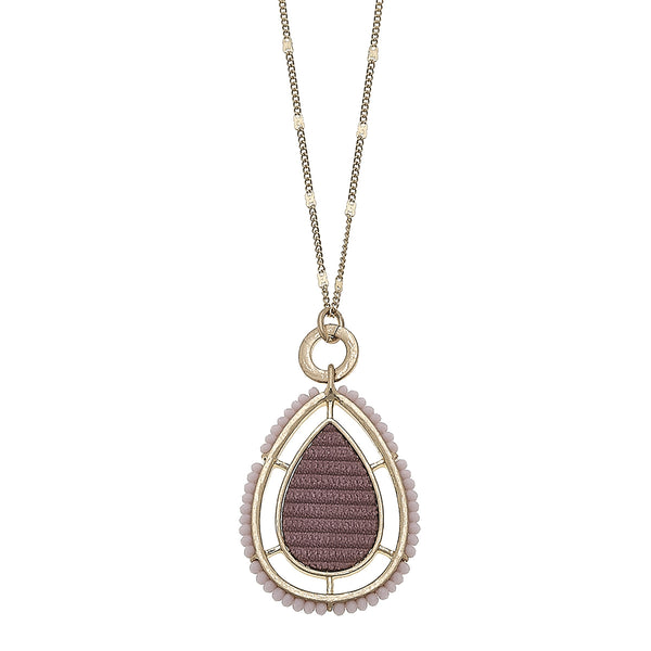 Velvet Beaded Teardrop Pendant Necklace in Mauve