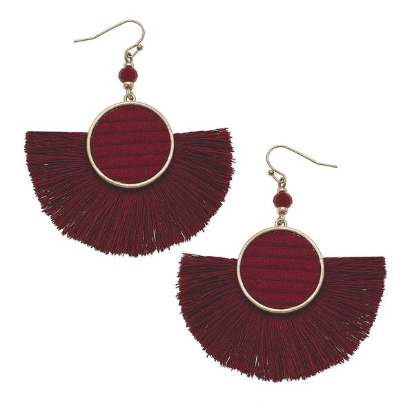Velvet Tassel Statement Earrings in Burgundy