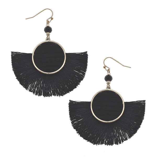 Velvet Tassel Statement Earrings in Black