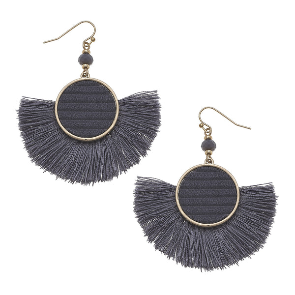 Velvet Tassel Statement Earrings in Grey