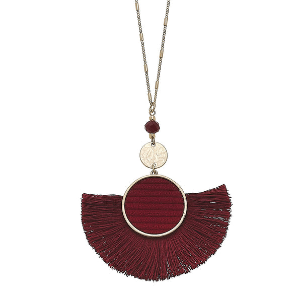 Velvet Tassel Pendant Necklace in Burgundy
