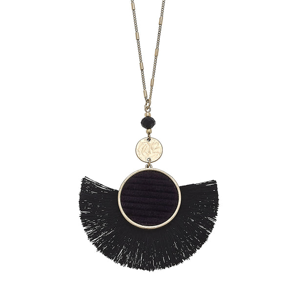 Velvet Tassel Pendant Necklace in Black