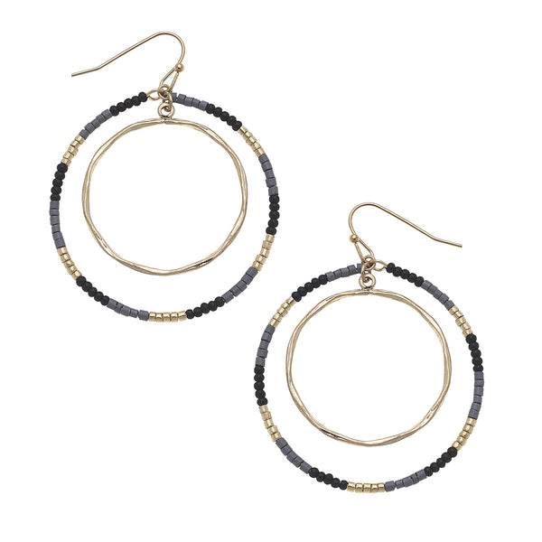 Circle Seed Bead Earrings in Black