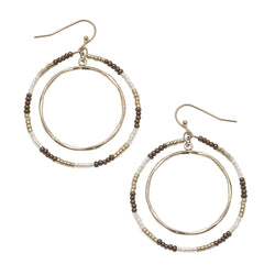 Circle Seed Bead Earrings in Brown