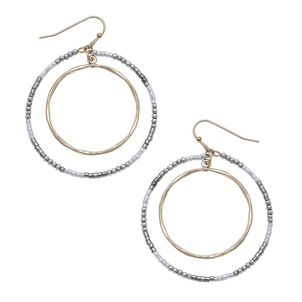 Circle Seed Bead Earrings in Grey
