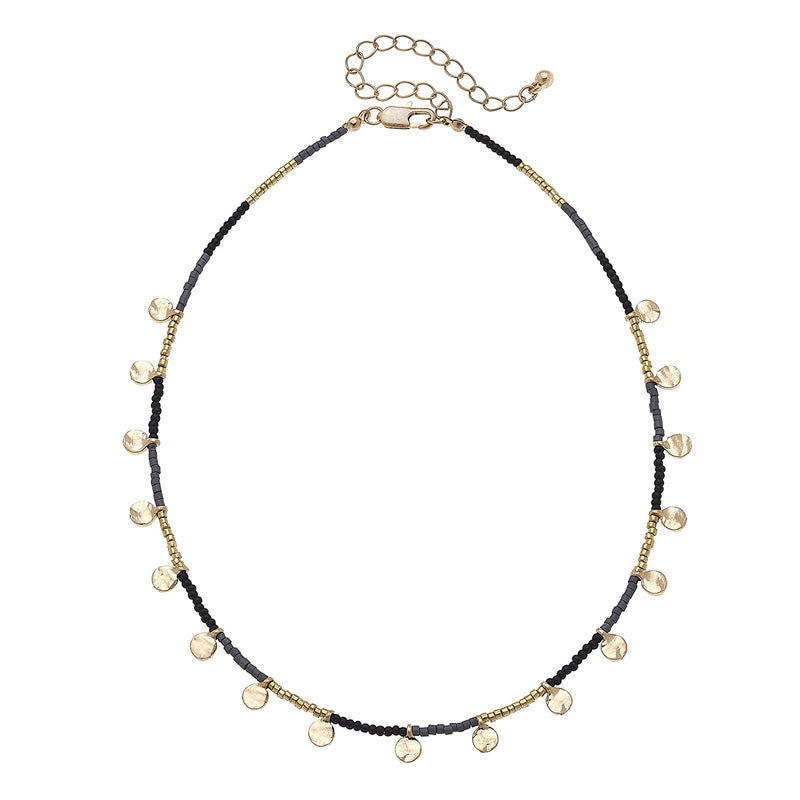 Discs Drip Seed Bead Necklace in Black