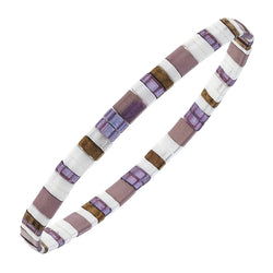 Genuine Miyuki Tila Glass Bracelet in Purple