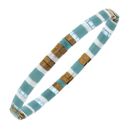 Genuine Miyuki Tila Glass Bracelet in Turquoise Brown