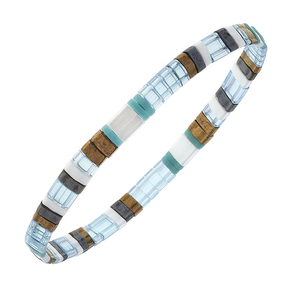 Genuine Miyuki Tila Glass Bracelet in Aqua Brown