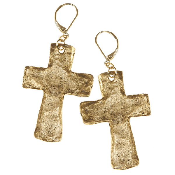 7532E-GD Hammered Cross Earrings by Crave
