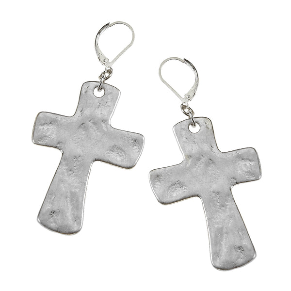 7532E-SL Hammered Cross Earrings by Crave