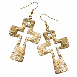 7677E-GD Hammered Cut-Out Cross Earrings by Crave