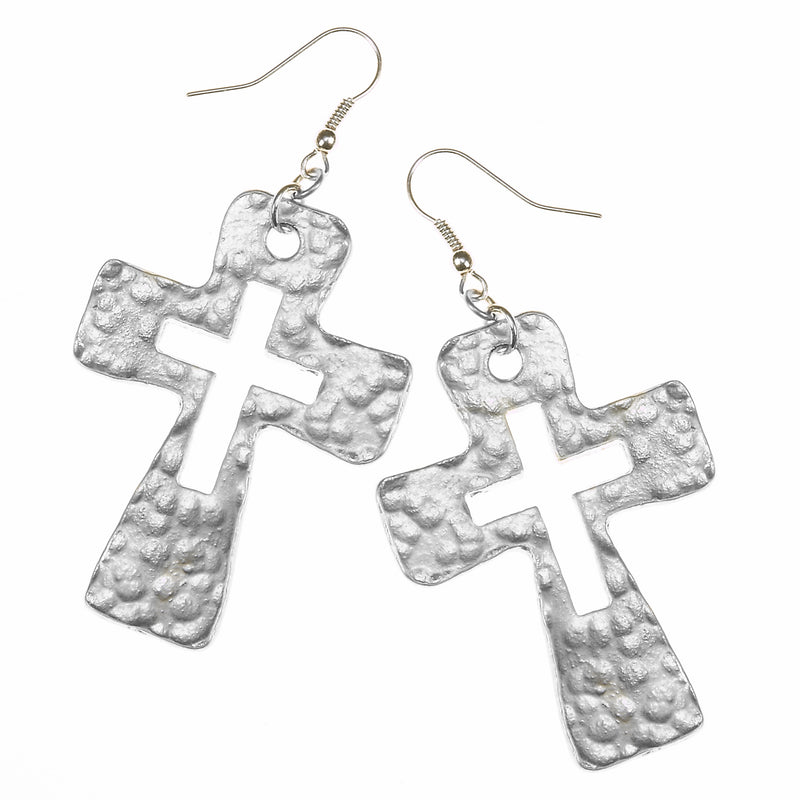 7677E-SL Hammered Cut-Out Cross Earrings by Crave