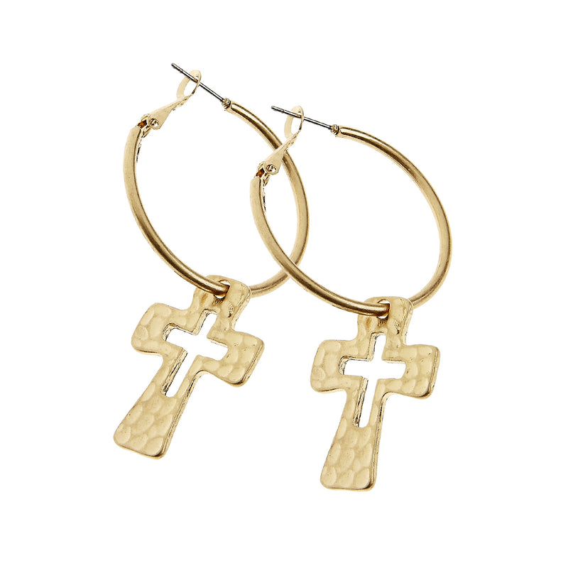 8228E-GD Small Hammered Cut-Out Cross Hoop Earrings by Crave
