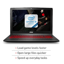 "Load image into Gallery viewer, MSI GV62 8RD-200 15.6"" Full HD Performance Gaming Laptop PC i5-8300H, GTX 1050Ti 4G, 8GB RAM, 16GB Intel Optane Memory + 1TB HDD, Win 10 64 bit, Black, Steelseries Red Backlit  Keys"