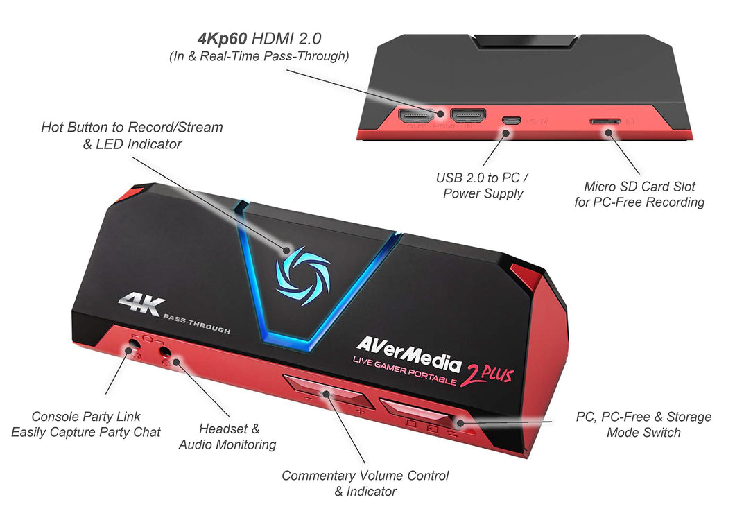 AVerMedia Live Gamer Portable 2 Plus, 4K Pass-Through, 4K Full HD 1080p60 USB Game Capture, Ultra Low Latency, Record, Stream, Plug & Play, Party Chat for Xbox, Playstation, Nintendo Switch (GC513)