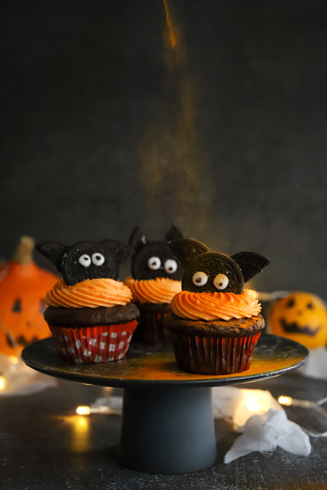 Cupcakes Halloween orange et chocolat vegan