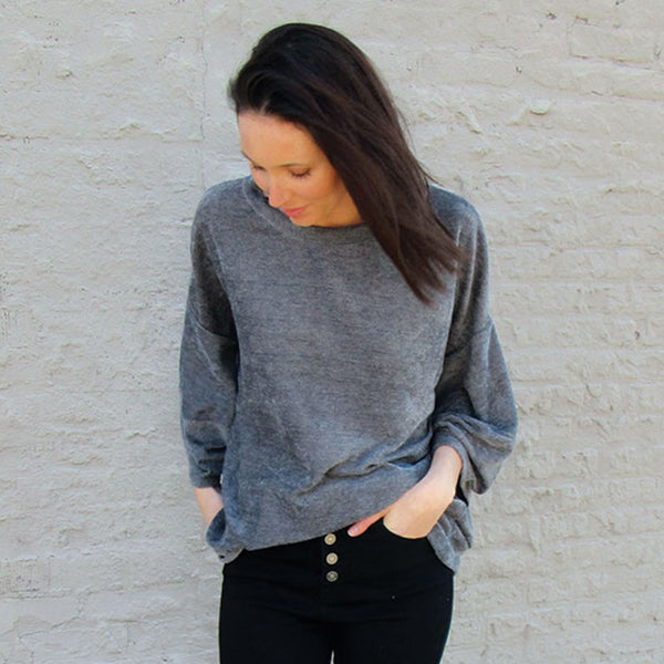Pewter Knit Sleeve Sweater