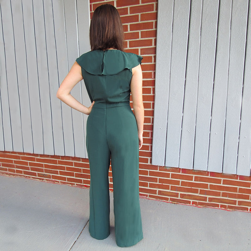 Deep Green Sleeveless Jumpsuit