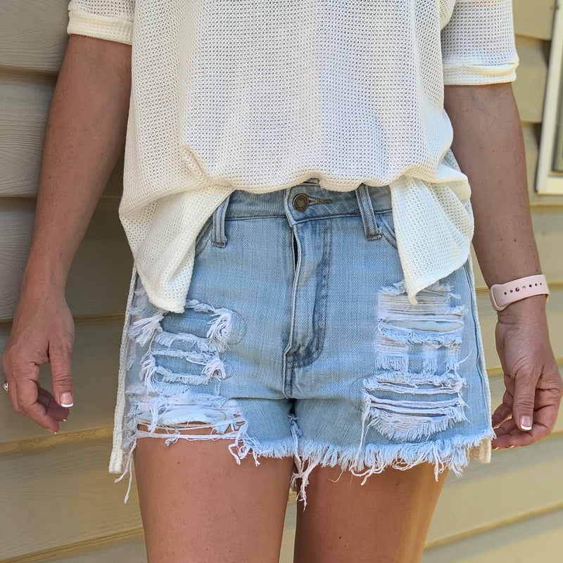 Light Denim Cut Offs