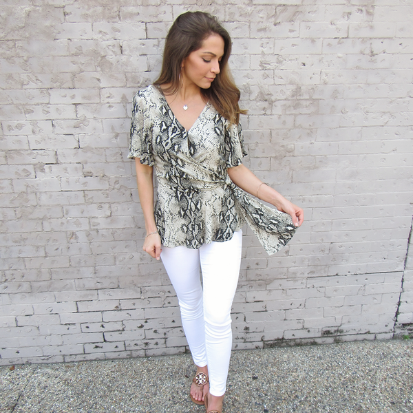 Snakeskin Side Tie Blouse
