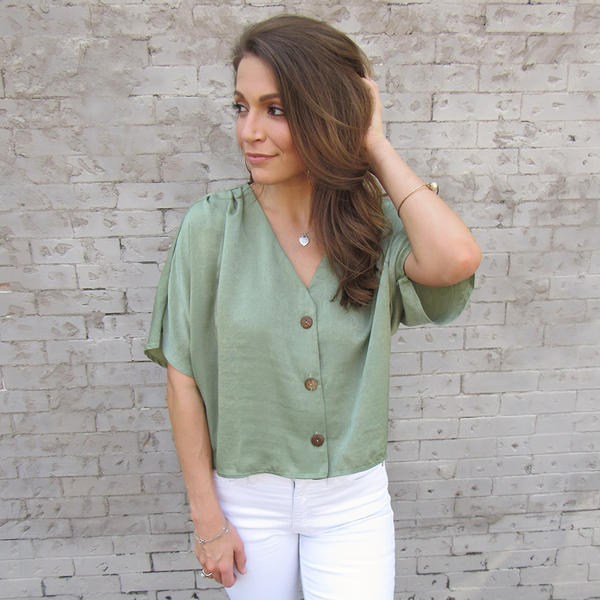 Olive Button Down Crop Top