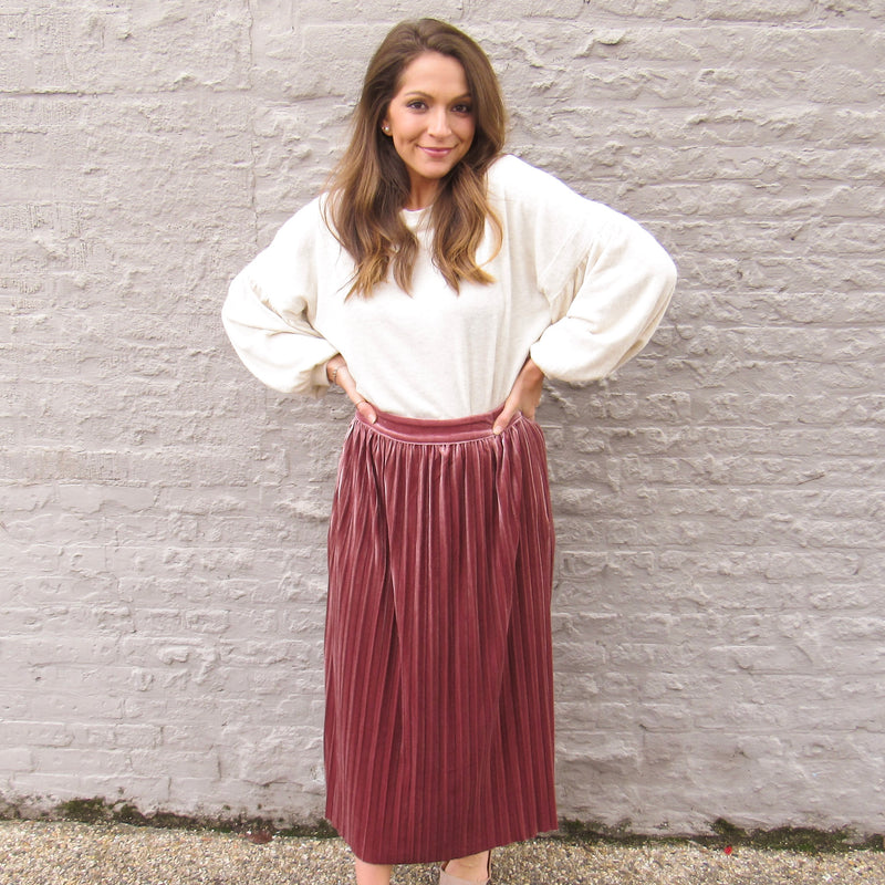Mauve Velour Midi Skirt