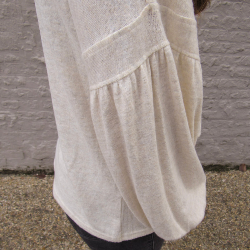 Cream Balloon Sleeve Sweater