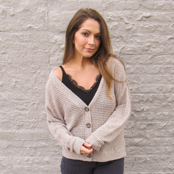 Buttoned Waffle Cardigan