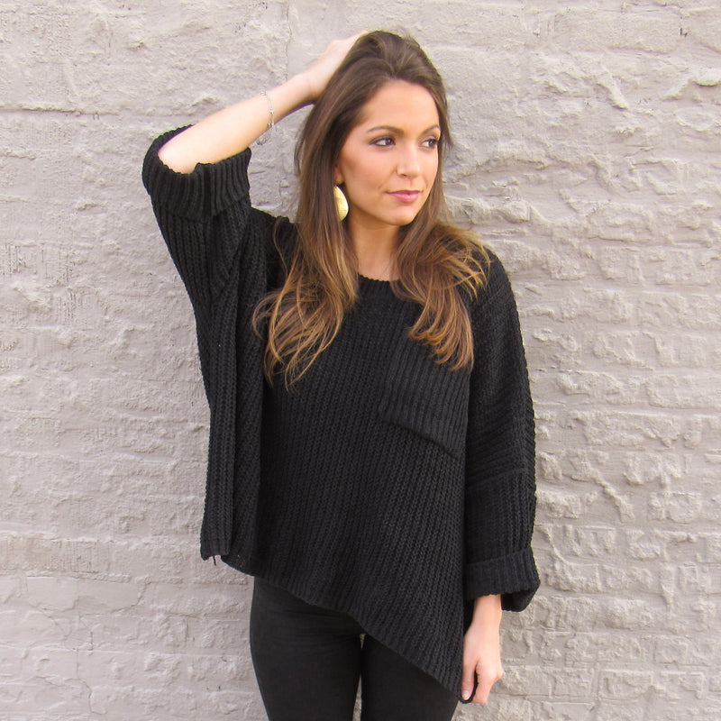 Dark Wide Sleeve Sweater
